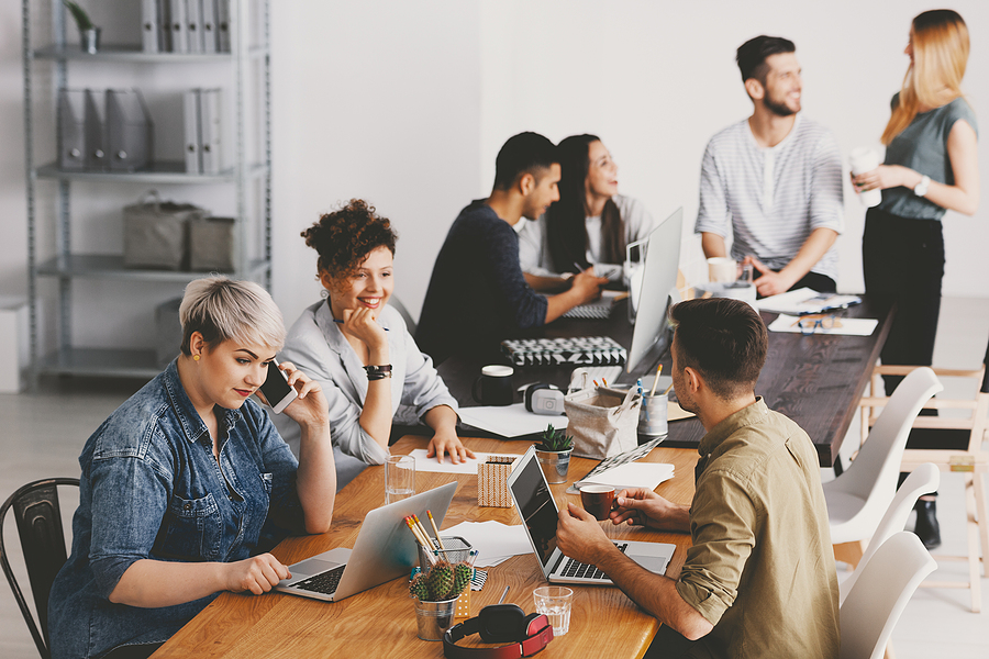 Young Professionals Working in Shared Office Space in Las Vegas
